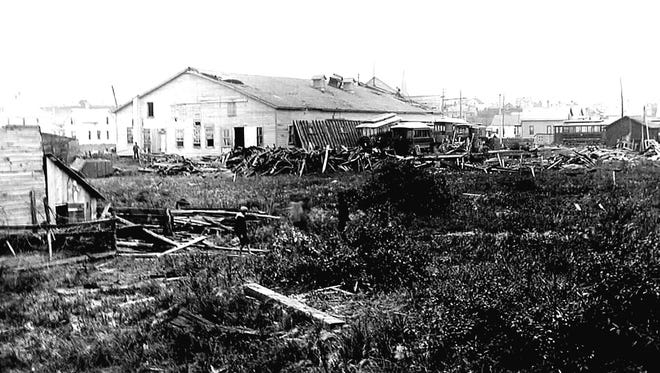 Damage done to the interurban car barns on Sheboygan's south side from the 1900 storm.