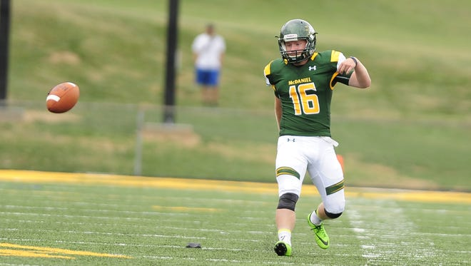 Spencer Wiersberg is a James M. Bennett graduate who kicked the game-winning field goal for McDaniel College on Saturday, Sept. 24, 2016.