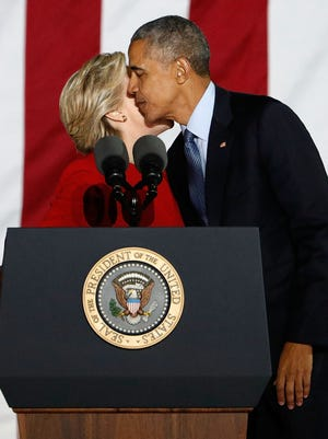 President Obama and former secretary of State Hillary Clinton appear at a campaign rally at Independence Hall in Philadelphia Nov. 7.