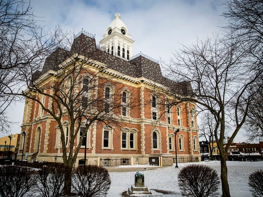 The south side of the  Randolph County Courthouse in downtown Winchester Thursday afternoon. The county plans to build a plaza on the southern lot of the courthouse.