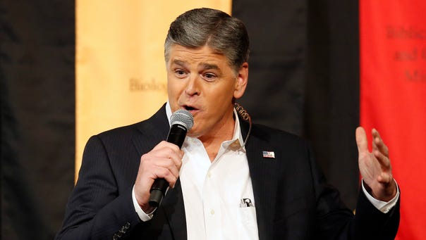 Fox News Channel's Sean Hannity speaks during a campaign