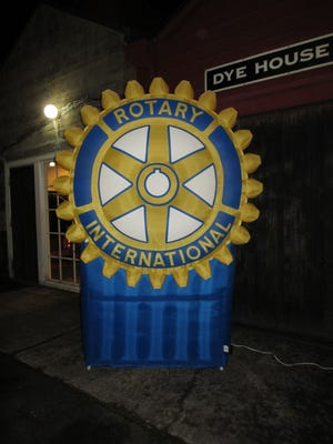 The Rotary symbol outside the Dye House at Rotary Night.