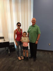The SARB Student Award was presented to first-grader Giselle Lopez, shown here with her mother Adriana Lopez and SARB/SAP Coordinator Don Slusser.