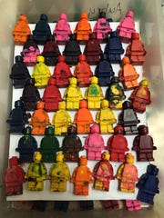 Recycled minifig crayons.