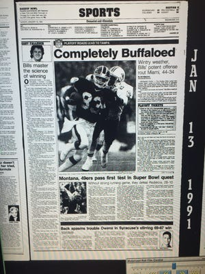 The Democrat and Chronicle sports page on Jan. 14, 1990.