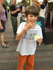 Windsor Hoopes, 10, of Hinesburg, ate Shy Guy gelato