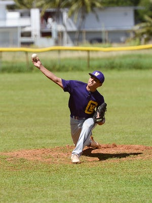 George Washington's Alan Gillan throws a pitch against Guam High during their Independent Interscholastic Athletic Association of Guam baseball game at George Washington High School in Mangilao on Oct. 22. The Geckos won the game 32-4.