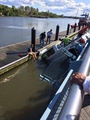 A pickup truck with a 42-year-old man inside went into the Christina River in Wilmington on Saturday, Sept. 9, 2017.