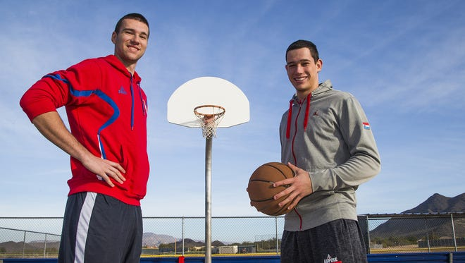 Jovan Drljaca, left, from Serbia, and Lovro Bulesic, from Croatia, now attend Aspire Basketball Academy and are close despite their homeland prejudices.