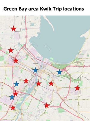 Current and future Kwik Trip locations in the Green Bay area. Future locations are in blue.