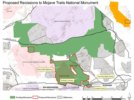 This map, which was produced by the Mojave Desert Land Trust, shows areas that Rep. Paul Cook is suggesting be removed from Mojave Trails National Monument. Not marked are other wilderness areas that he suggests adding.