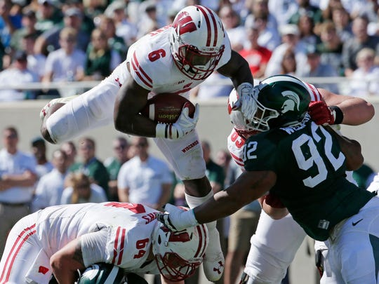 UW running back Corey Clement scored twice against Michigan State in 2016.
