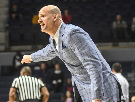 Mississippi head coach Andy Kennedy reacts during an