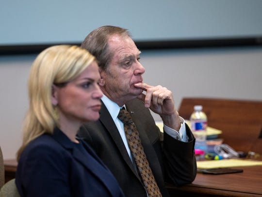 Defense attorney Lisa Greenberg and defendant Judge Guy Williams listen to opening statements during Williams' trial for aggravated assault with a deadly weapon on Tuesday, March 20, 2018, in the 148th District Court at the Nueces County Courthouse.