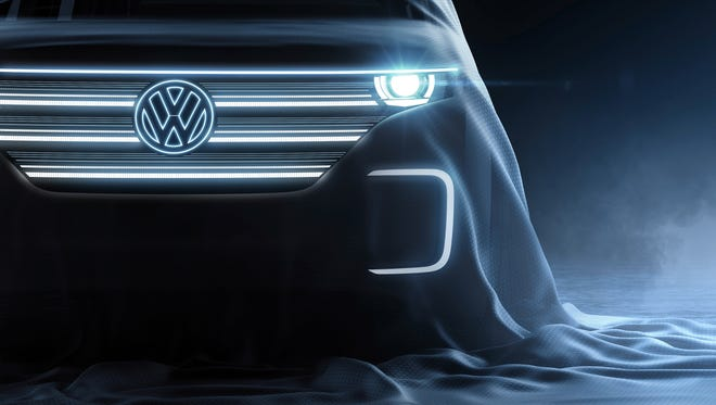 Volkswagen AG released this teaser image of a vehicle it plans to reveal at the 2016 Consumer Electronics Show in Las Vegas.
