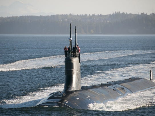 The Seawolf-class fast-attack submarine USS Jimmy Carter transits the Hood Canal as the boat returns home to Naval Base Kitsap-Bangor in September.