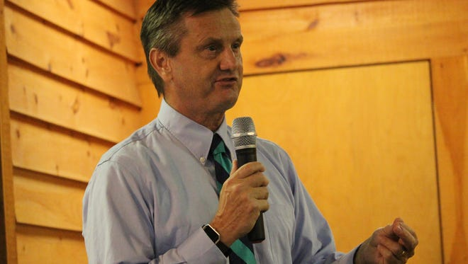 State Sen. Tom Davis speaks to Pickens County Republicans on Thursday night in Easley.