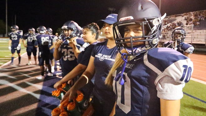Del Valle placekicker Love' Tovar at their scrimmage game against Eastwood Friday night in their home field.