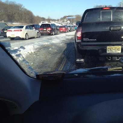 Traffic is backed up on the Garden State Parkway northbound