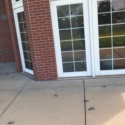 A window was broken at the Frances L. Simek Memorial