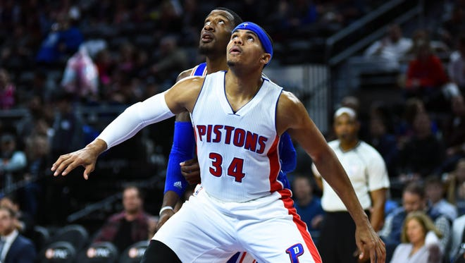 Feb 24, 2016; Auburn Hills, MI, USA; Detroit Pistons forward Tobias Harris (34) waits for a rebound during the second quarter against the Philadelphia 76ers at The Palace of Auburn Hills. Mandatory Credit: Tim Fuller-USA TODAY Sports