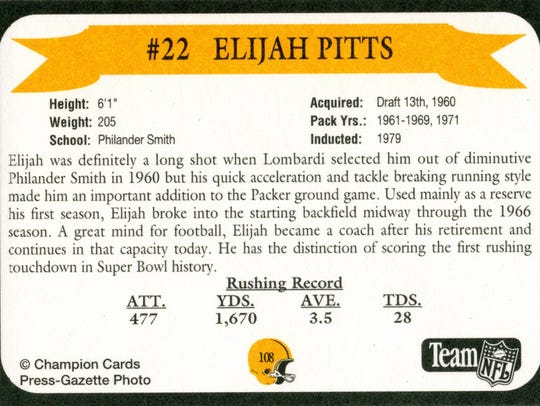 Packers Hall of Fame player Elijah Pitts