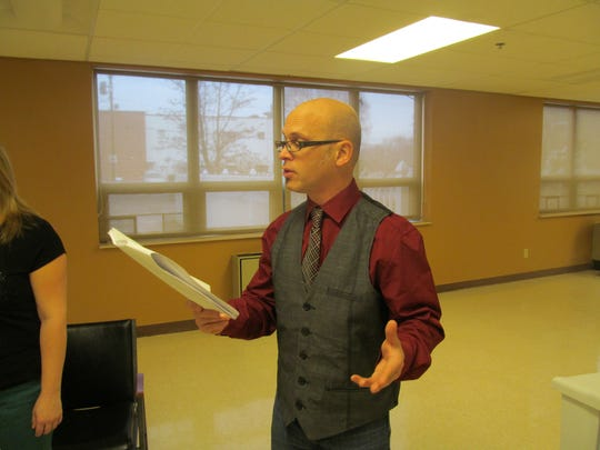 Tony Yajko rehearses for an upcoming performance by Darkhorse Dramatists. The Binghamton playwright is artistic director of the collective that is dedicated to producing original plays.