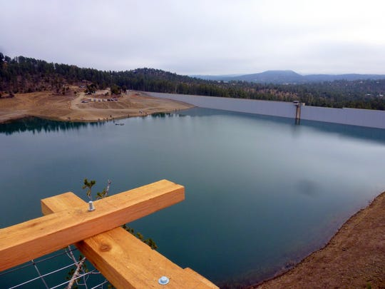 One of the climbers from the Rocky Mountain Elk Foundation snapped this shot of Grindstone Reservoir from the top of the tree as he built the platform.