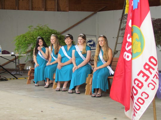 A lovely court, left to right, Megan Lamberty, Raven Willard, Jeannie Wilson, Wednesday Sprague and Ashley Mask, kicking off the 2016 Linn County Lamb & Wool Fair in Scio.