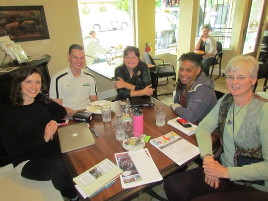"Visitors to Moxieberry in Stayton for the first ""Canyon Conversations"" include (from left), Nicole Miller, Ryan Hendricks, Priscilla Glidewell, Jean Moule and Kelly Schreiber."