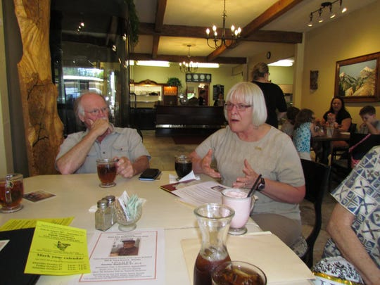 Linda Banister tells us about the local DAR chapter. Abigail Scott Duniway, during Canyon Conversations at Moxieberry in downtown Stayton.
