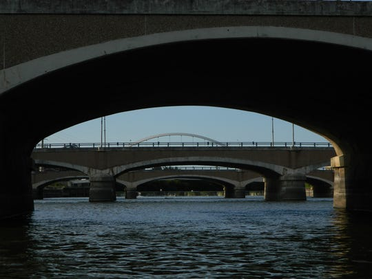 The arched bridges in downtown Des Moines are all scheduled