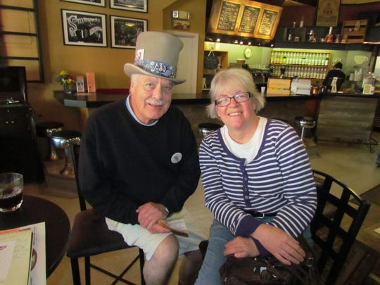 Gregg Sheesley with the Silverton Sidewalk Shindig and Jan McCorkle with Silverton Grange Hall #748 during Creekside Chat at Silver Creek Coffee House.