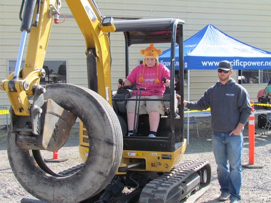 A hands-on experience with the equipment as part of the Career Expo held at Stayton High School.
