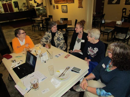 Canyon Conversations at Moxieberry, left to right, Pam Pugsley, Linda Sunderland, Carmelle Bielenberg, Carol Tabor and Nicolle Owings.