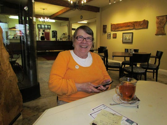 Pam Pugsley of Friends of the Stayton Library stopped into Moxieberry for Canyon Conversations to help drum up support for an electronic community reader board at the library.