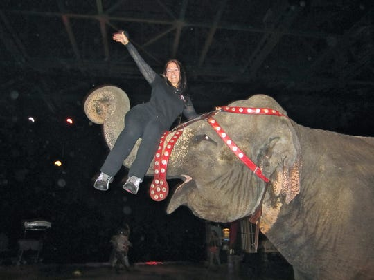 Vet tech Jessica Clowers during her time with the circus.