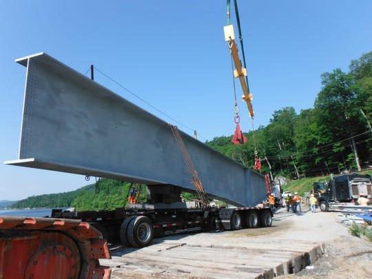 Steel girders for a new West Brook Road bridge in Ringwood