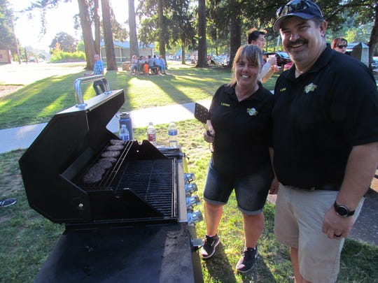 Pioneer Park, Stayton: Many east Willamette Valley residents turned out for a bite and a visit as part of National Night Out Tuesday, Aug. 1, 2017.