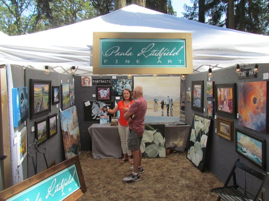 A shady Coolidge-McClaine Park lined with a variety of artistic vendors proved to be a strong draw at Silverton Fine Arts Festival Saturday.