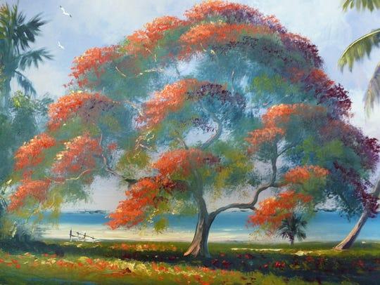 Landscape by Florida Highwaymen artist Harold Newton.
