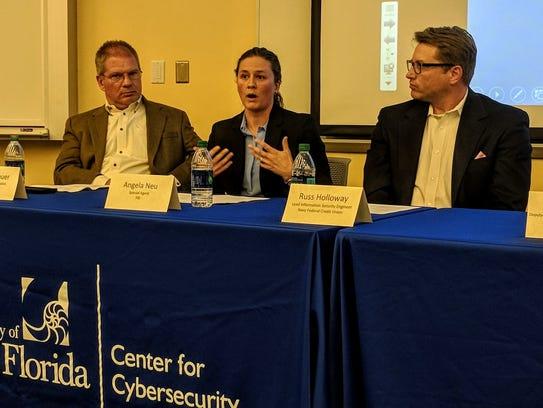 FBI Special Agent Angela Neu speaks at the University