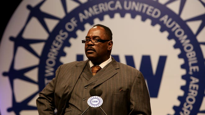 Outgoing UAW Vice President General Holiefield talks during the UAW Constitutional Convention at Cobo Center in downtown Detroit on Wednesday June 4, 2014.Eric Seals/Detroit Free Press