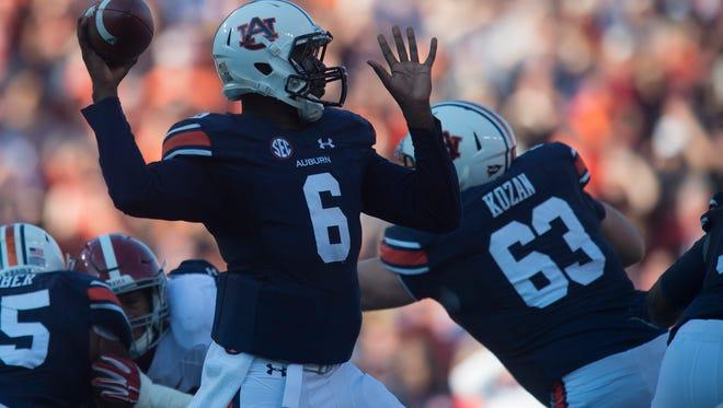 Auburn quarterback Jeremy Johnson (6) throws a pass during the first half of the NCAA college football game between Auburn vs. Alabama, Saturday, Nov. 28, 2015, at Jordan-Hare Stadium in Auburn, Ala.Albert Cesare / Advertiser