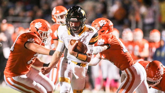 Red Lion's Sam Emig (9), runs the ball for a touchdown during the second quarter of a York-Adams Division I league football game against Central York Friday, Oct. 21, 2016, at Central York High School, in Springettsbury Township. Amanda J. Cain photo