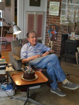 Artist Irving Harper is seen at his Rye home in January 2015. Harper, who died at age 99 on August 4, 2015, created famous modernist designs including the marshmallow sofa and the starburst clock, were attributed to his boss, George Nelson.