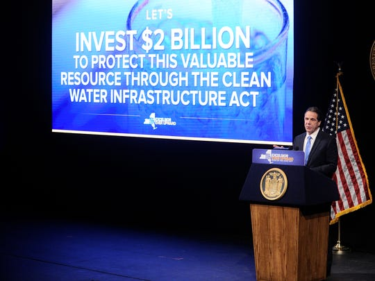 New York Gov. Andrew Cuomo delivers one of his State of the State addresses at SUNY Albany in Albany, N.Y., Wednesday, Jan. 11, 2017. Here he is discussing a $2 billion water fund, which ended up being $2.5 billion in the final state budget.