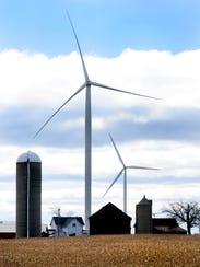 Wind turbines in the town of Glenmore in southern