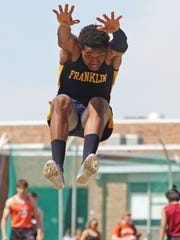 Franklin's Devonte Brown competes in the boys long jump. This is action of the Somerset County Track Relays at Ridge High School in the Basking Ridge section of Bernards.