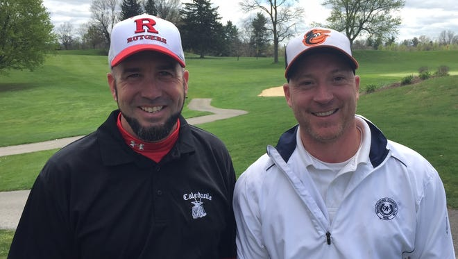Andy Grove, left, and Tony Strait shot a 64 to win the Spring 2-Man Scramble golf tournament at Chambersburg Country Club on Saturday.